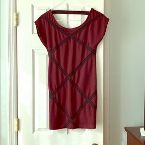 Beautiful maroon and black fitted dress